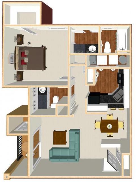 Floor Plan 22 | Apt For Rent Orlando | Auvers Village