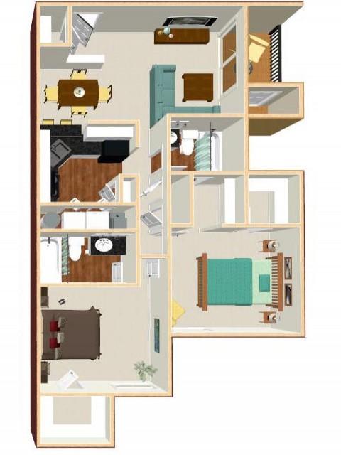 Floor Plan 2 | Apartments Orlando | Auvers Village