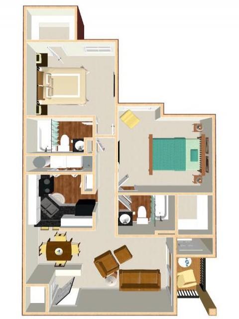 Floor Plan 17 | Apt For Rent Orlando | Auvers Village