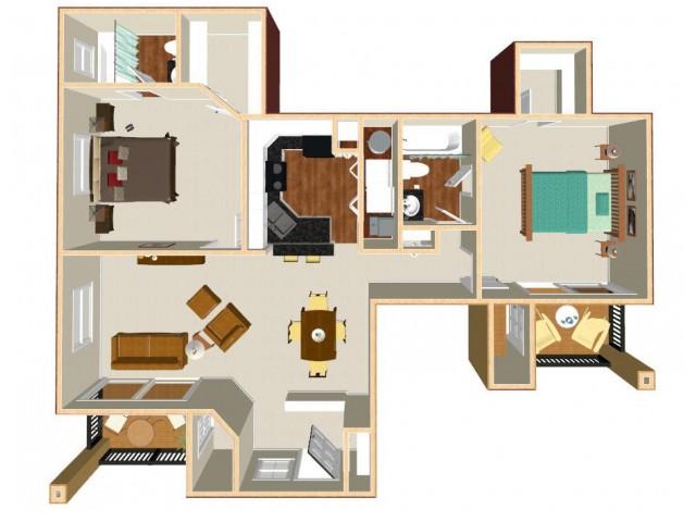 Floor Plan 7 | Orlando Apartments | Auvers Village