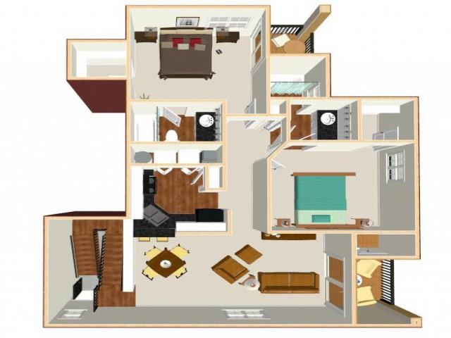 Floor Plan 12 | Apt For Rent Orlando | Auvers Village
