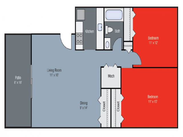 Floor Plan 2 | Apartments in Lexington KY | Pinebrook Apartments