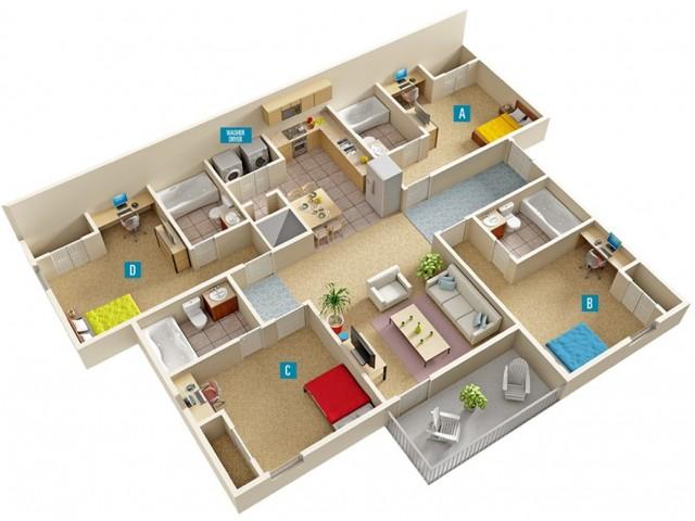 4 Bedroom Floor Plan | GSU Off Campus Housing | The Vault at Statesboro