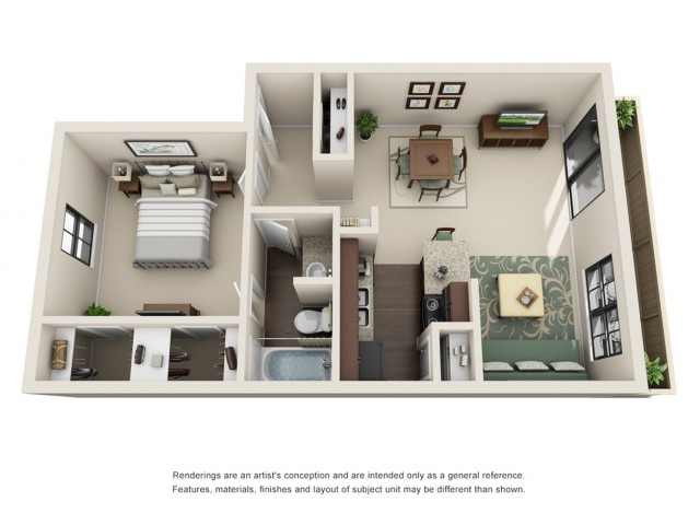 1 Bdrm Floor Plan | Houston Apartments on Woodforest Blvd | Timber Run