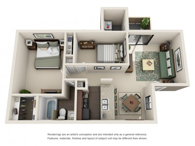 2 Bedroom Floor Plan | Woodforest Apartments in Houston | Timber Run
