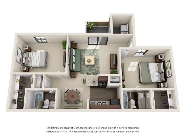 2 Bdrm Floor Plan | Houston Apartments near Northshore | Timber Run