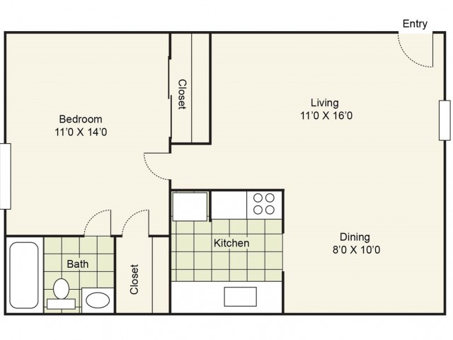 1 Bedroom Floor Plan | Apartments In Pasadena TX | Crossings Burke Regency