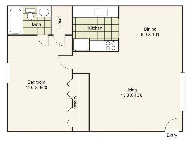 1 Bdrm Floor Plan | Apartment Pasadena TX | Crossings Burke Regency