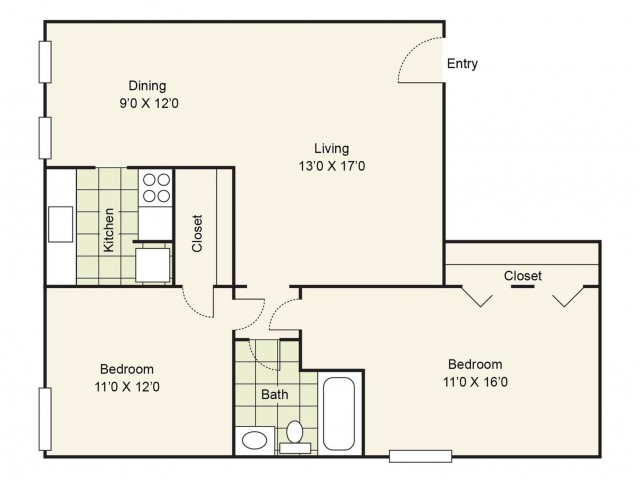 2 Bedroom Floor Plan | Apartment For Rent In Pasadena | Crossings Burke Regency