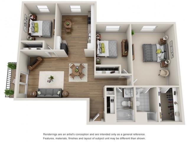 Floor Plan 7 | Mount Prospect Illinois Apartments | The Residences at 1550