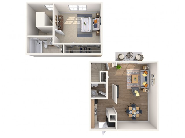 1 Bdrm Floor Plan | Mount Prospect Apartments | The Townhomes at Highcrest