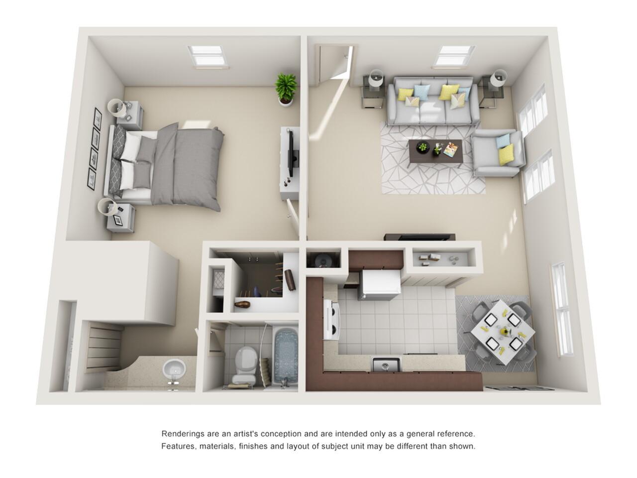 1 Bedroom Floor Plan | Apartments Pembroke Pines | Azure Villas