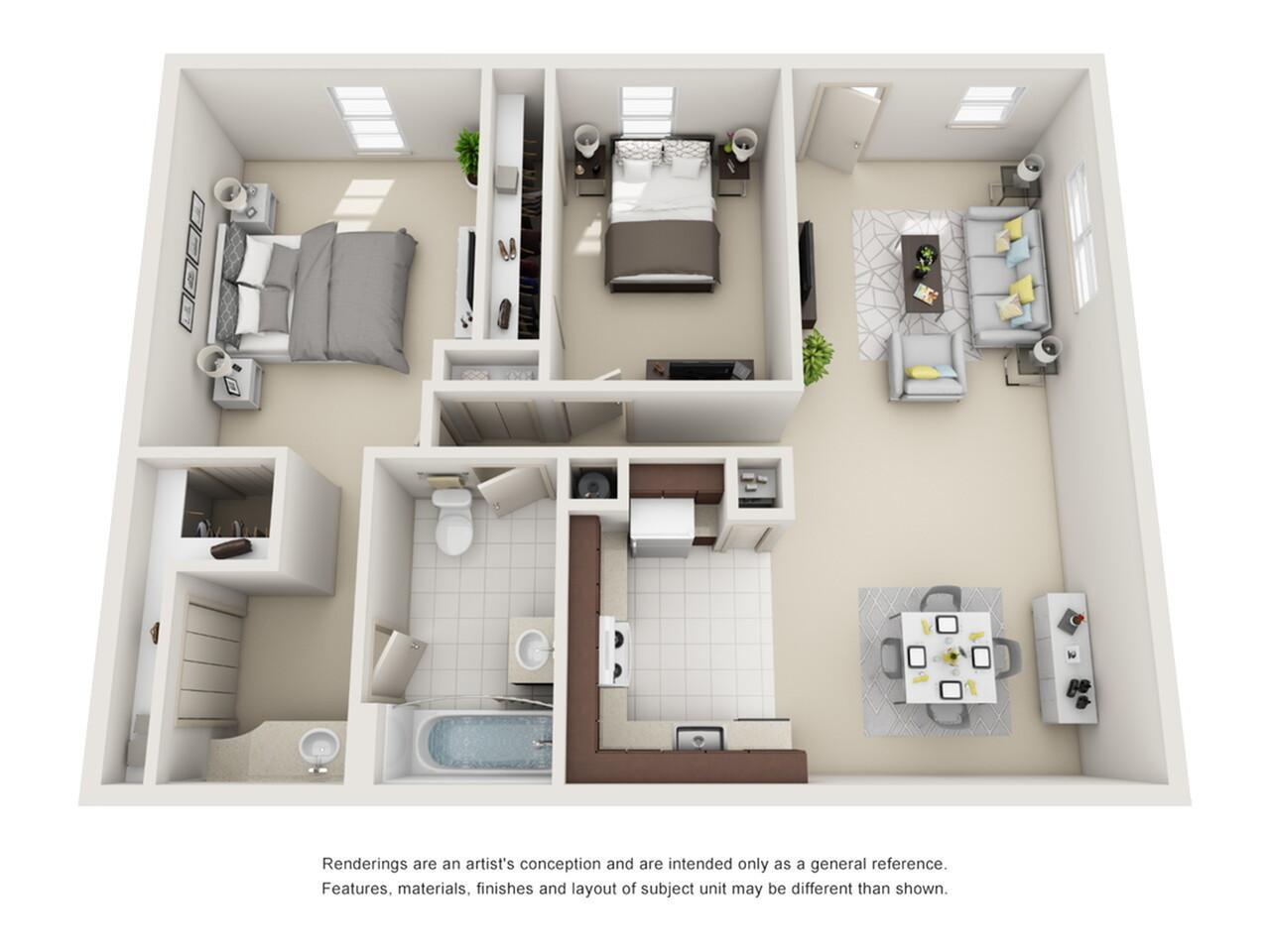 2 Bedroom Floor Plan | Apartment Rentals Pembroke Pines | Azure Villas