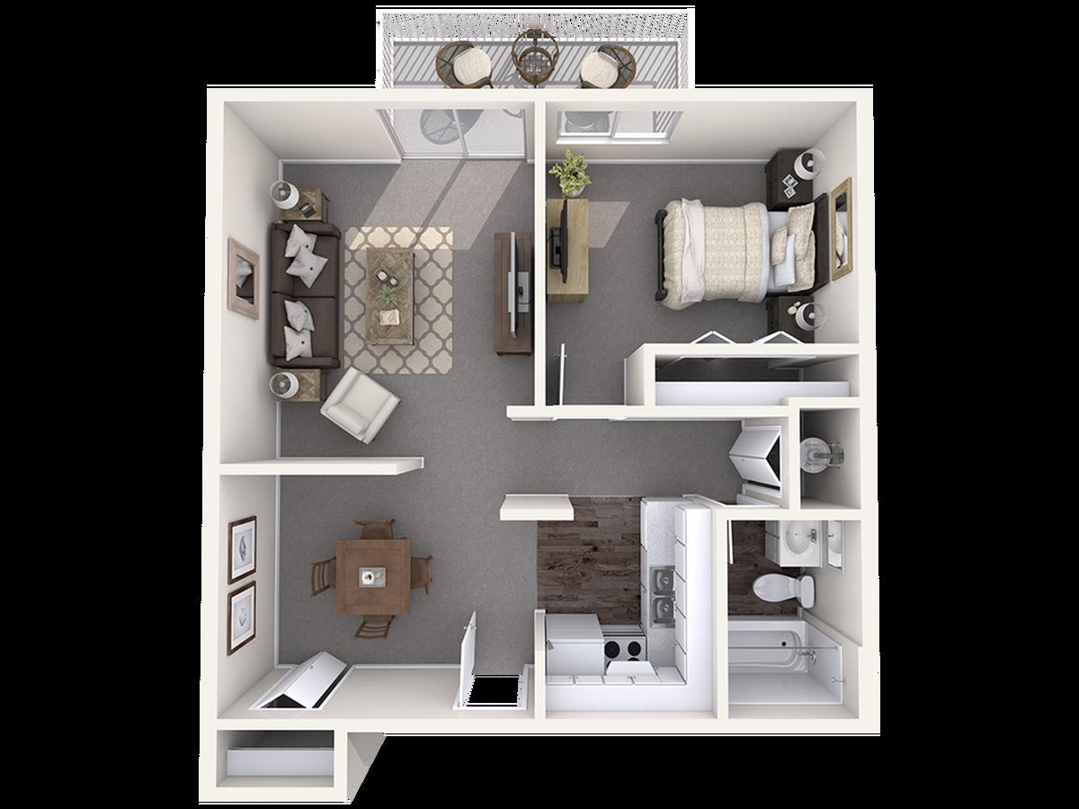 1 Bedroom Floor Plan | Apartments Wilmington NC | The Pines of Wilmington