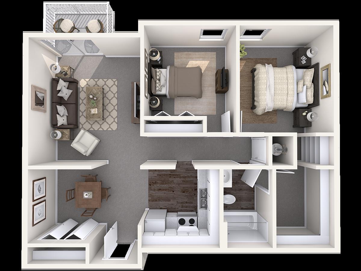 2 Bedroom Floor Plan | Apartments in Wilmington NC | The Pines of Wilmington