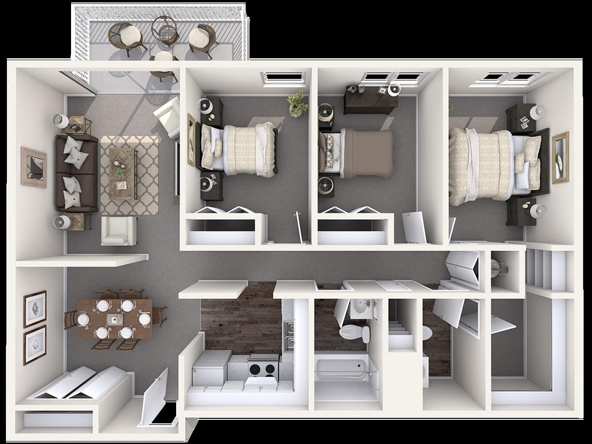3 Bedroom Floor Plan | Apartment Complexes in Wilmington NC | The Pines of Wilmington