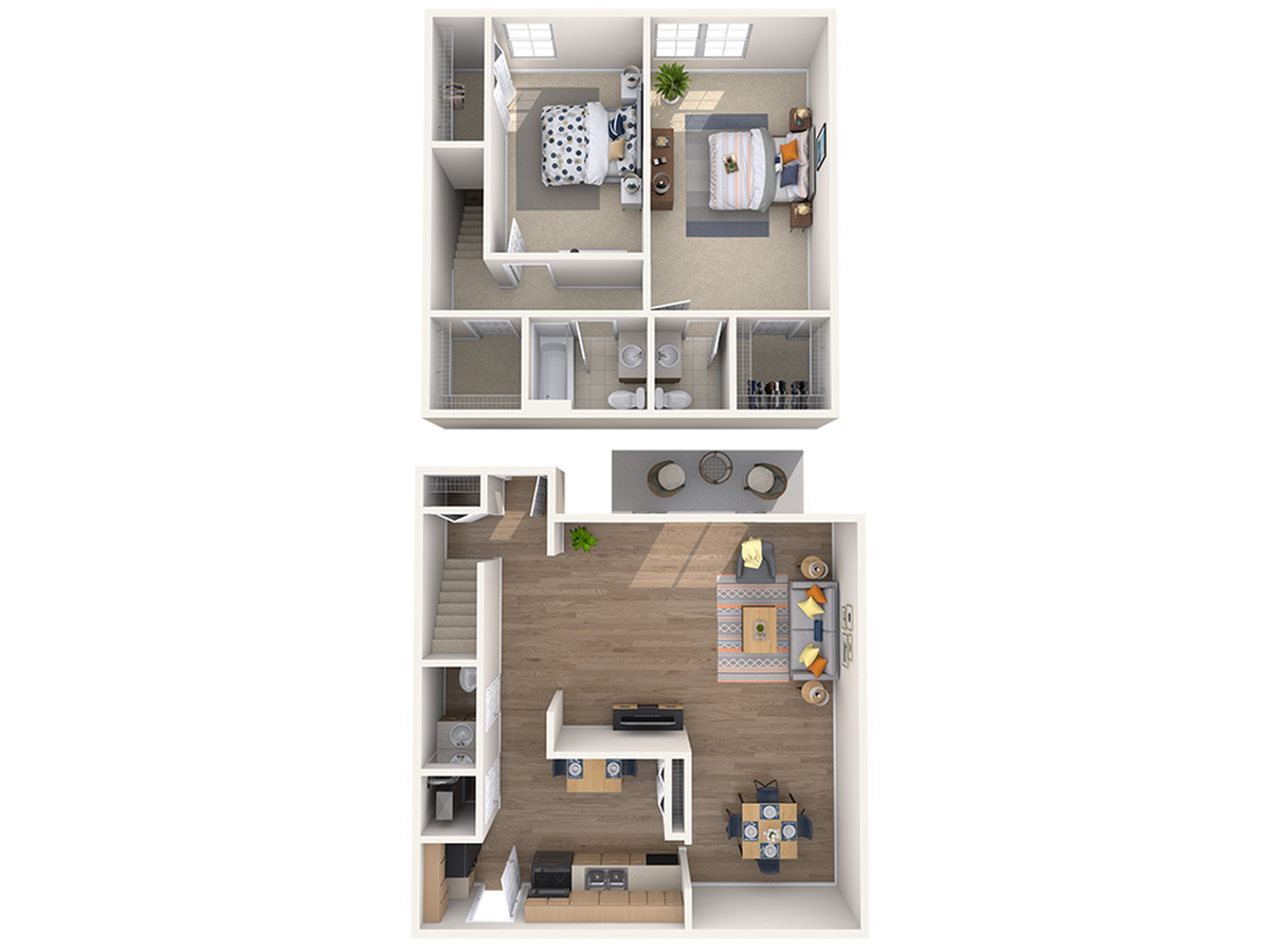 2 Bedroom Floor Plan | Mount Prospect Apartments for Rent | The Townhomes at Highcrest