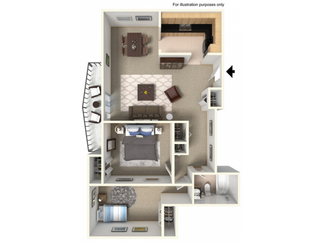 2 Bedroom, 1 Bathroom wBalcony Remodel