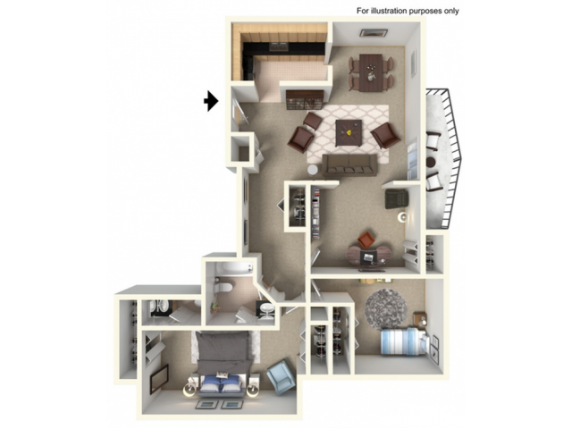 2 Bedroom, 1.5 Bathroom wDen