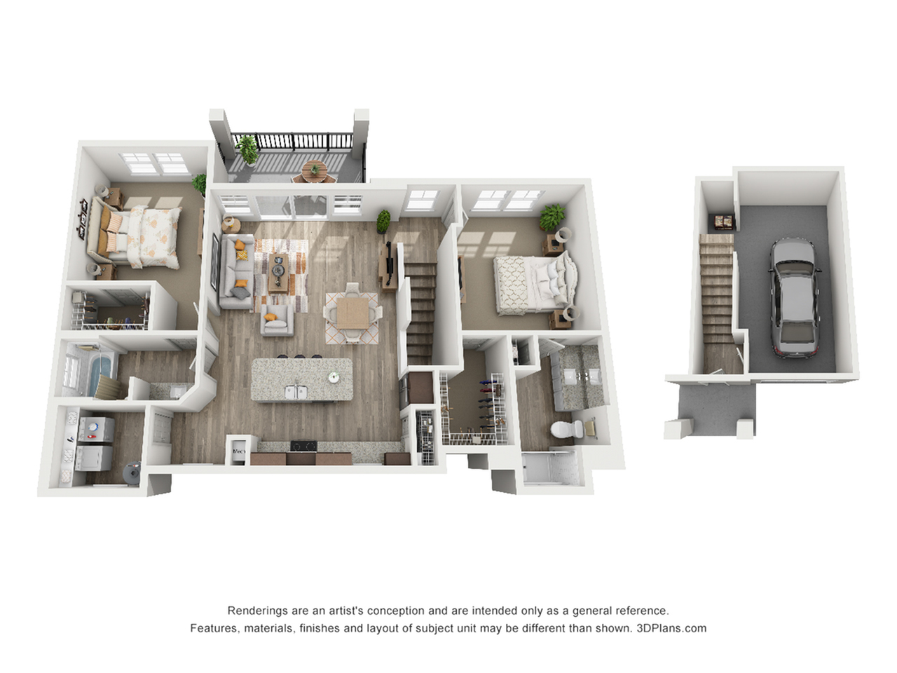 B4 - 2 bedroom, 2 bathroom Carriage House at Champions Vue