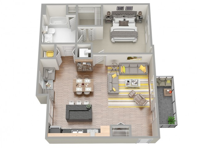 3D Floor Plan 5 | Luxury Apartments In Clearwater Fl | The Nolen