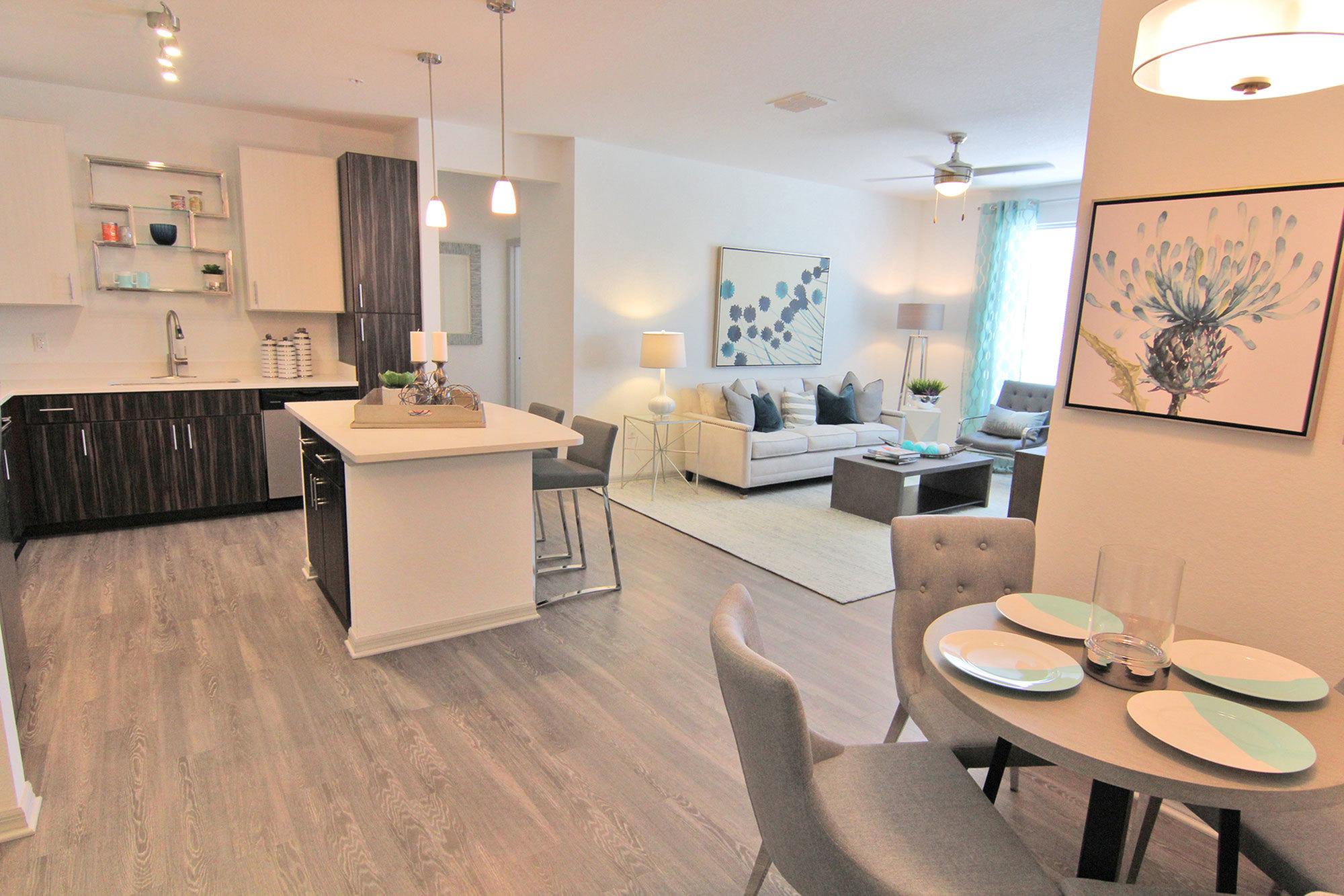 2 Bedroom, 2 Bathroom Radiant Model Dining, KitchenLiving Room