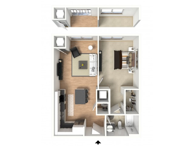 One bedroom with dual-entry bathroom and open kitchen layout.