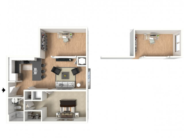 One bedroom, with den and dual-entry bathroom. Built-in island, great for entertaining!