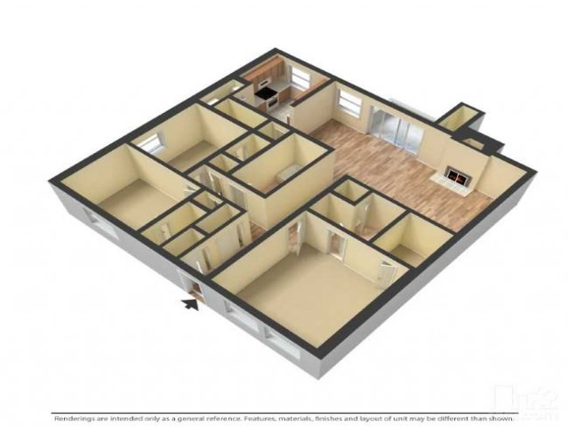 Larger floor plan; 1444 square feet
