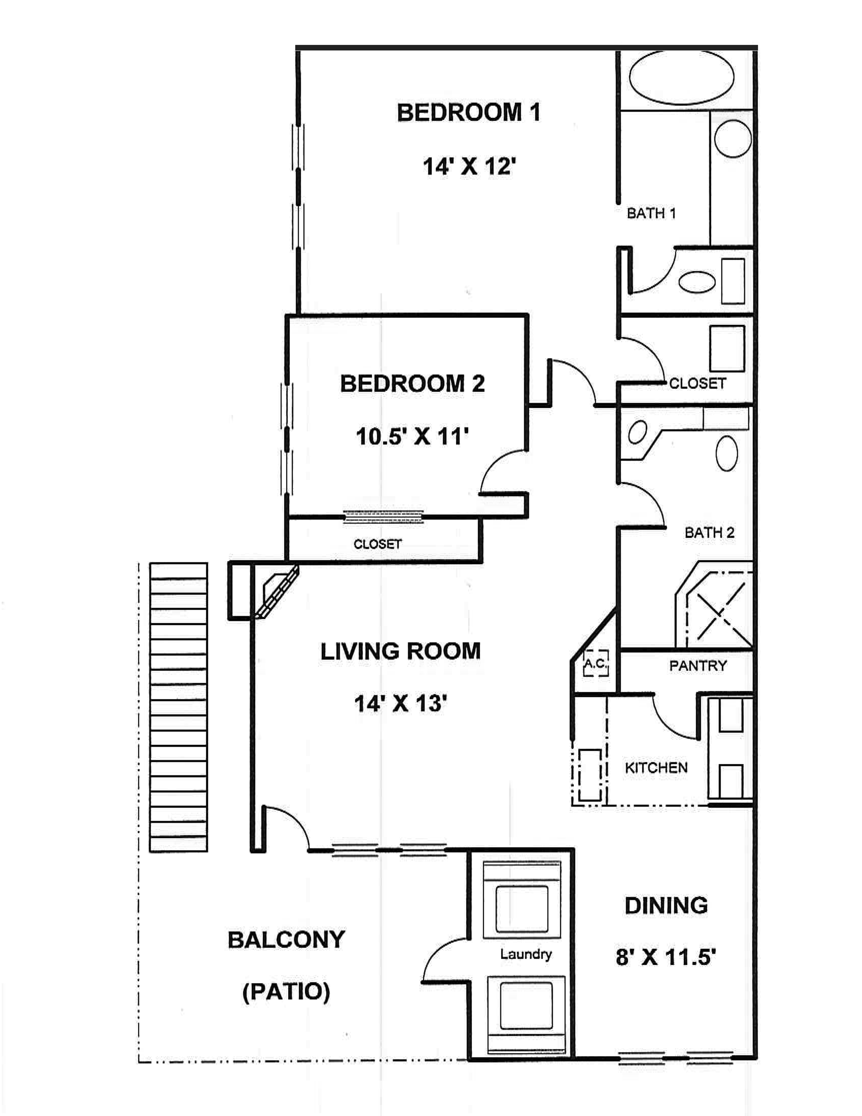Two Bedrooms (1000 sq. ft.)