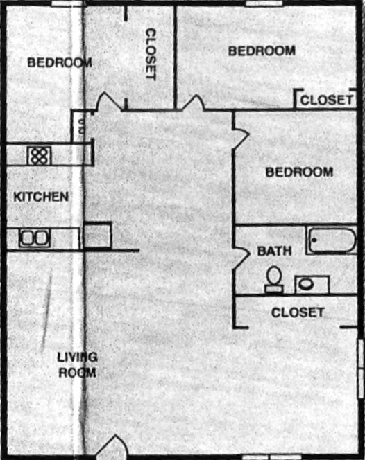 Three Bedrooms; One Bath