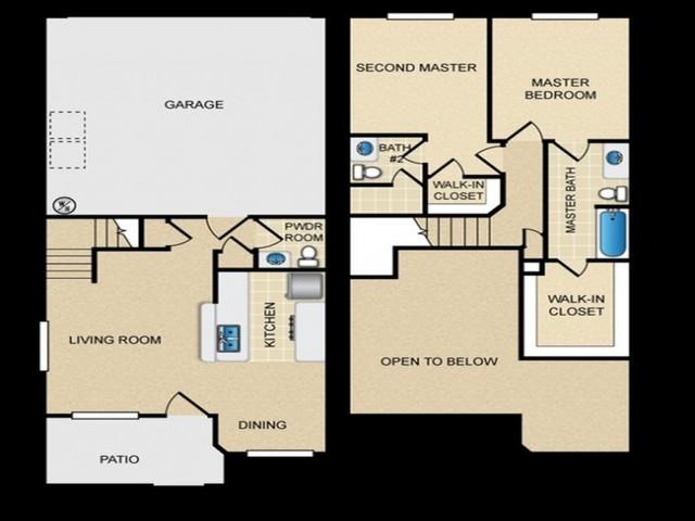 2 Bedrooms / 2.5 Bathrooms