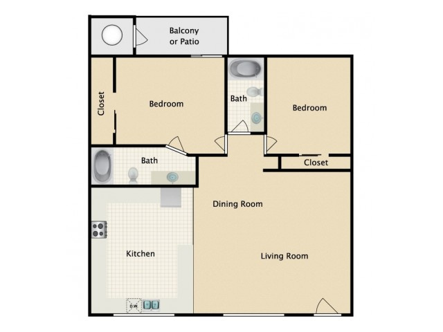 2 Bedrooms / 2 Baths