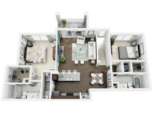 Excite Floor Plan | 2 Bedroom with 2 Bath | 1121 Square Feet | The Marq Highland Park | Apartment Homes