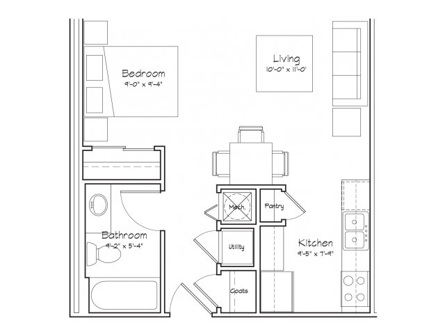 0X1-S1 Floor Plan | Studio with 1 Bath | 416 Square Feet | Alpha Mill | Apartment Homes
