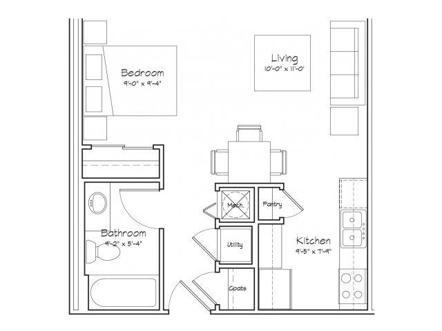 0X1-S1 Floor Plan | Studio with 1 Bath | 416 Square Feet | Alpha Mill | Apartment Homes