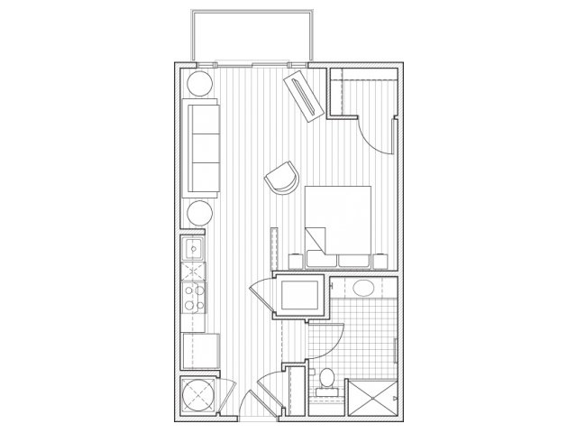 0X1-S2 Floor Plan | Studio with 1 Bath | 537 Square Feet | Alpha Mill | Apartment Homes