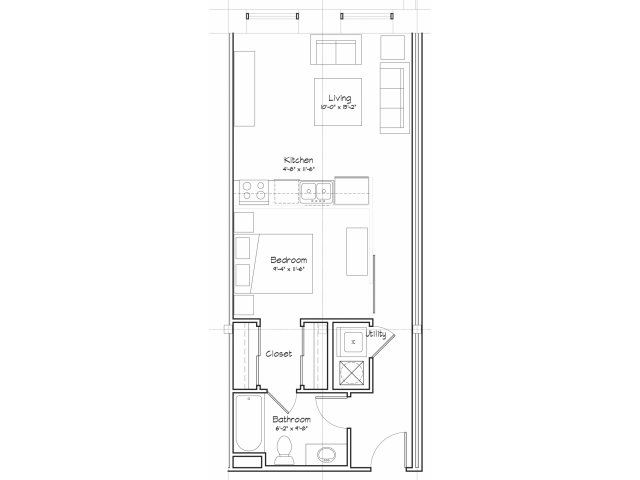 0X1-S3 Floor Plan | Studio with 1 Bath | 556 Square Feet | Alpha Mill | Apartment Homes