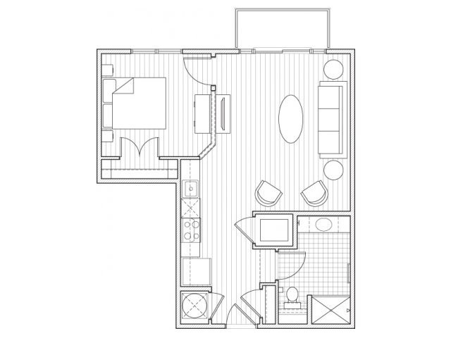 1X1-A2 Floor Plan | 1 Bedroom with 1 Bath | 651 Square Feet | Alpha Mill | Apartment Homes