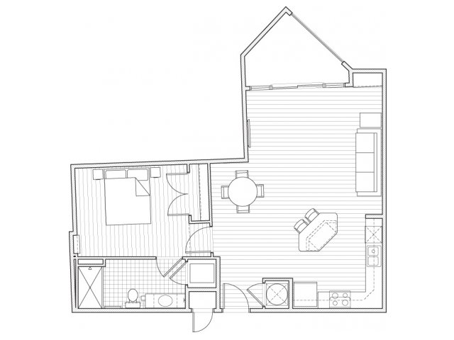 1X1-A10 Floor Plan | 1 Bedroom with 1 Bath | 784 Square Feet | Alpha Mill | Apartment Homes