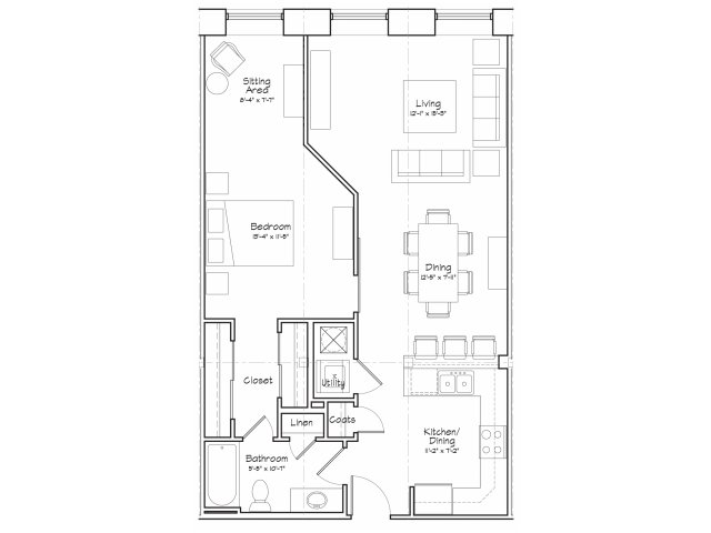 1X1-A12 Floor Plan | 1 Bedroom with 1 Bath | 850 Square Feet | Alpha Mill | Apartment Homes