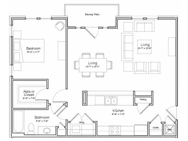 1X1-A15 Floor Plan | 1 Bedroom with 1 Bath | 887 Square Feet | Alpha Mill | Apartment Homes