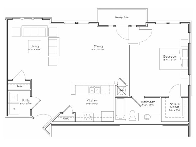 1X1-A16 Floor Plan | 1 Bedroom with 1 Bath | 960 Square Feet | Alpha Mill | Apartment Homes
