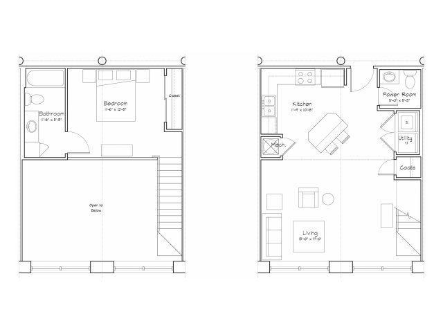 1X1.5-A17L Floor Plan | 1 Bedroom with 1.5 Bath | 754 Square Feet | Alpha Mill | Apartment Homes