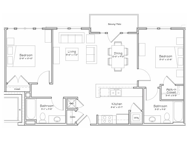 2X2-B1 Floor Plan | 2 Bedroom with 2 Bath | 900 Square Feet | Alpha Mill | Apartment Homes