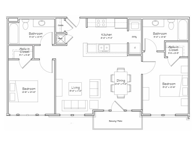 2X2-B2 Floor Plan | 2 Bedroom with 2 Bath | 934 Square Feet | Alpha Mill | Apartment Homes