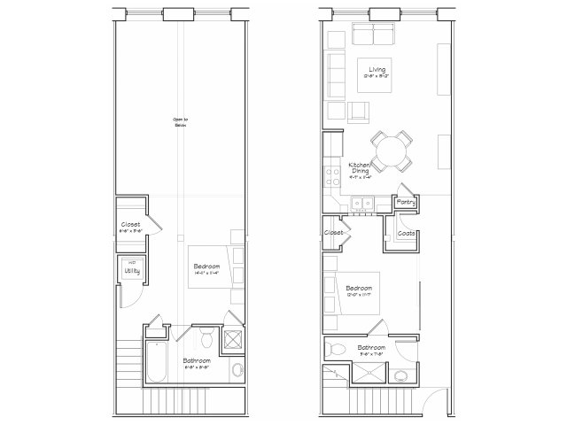 2X2-B5L Floor Plan | 2 Bedroom with 2 Bath | 1090 Square Feet | Alpha Mill | Apartment Homes