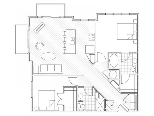 2X2-B10 Floor Plan | 2 Bedroom with 2 Bath | 1179 Square Feet | Alpha Mill | Apartment Homes