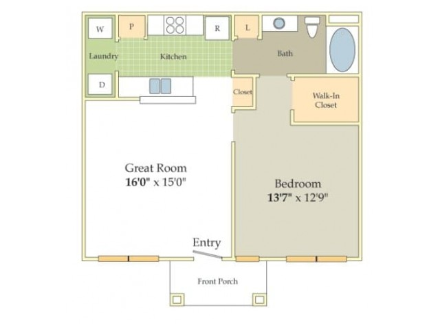 Ardsley Floor Plan | 1 Bedroom with 1 Bath | 731 Square Feet | Cason Estates | Apartment Homes