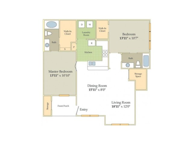 Kempsey Floor Plan | 2 Bedroom with 2 Bath | 1138 Square Feet | Cason Estates  | Apartment Homes